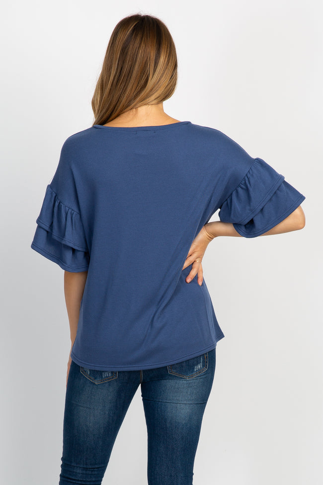 Blue Layered Ruffle Sleeve Terry Maternity Top