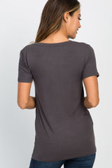 Charcoal Basic V-Neck Maternity Top