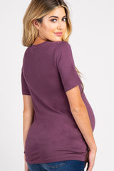 Purple Basic V-Neck Maternity Top