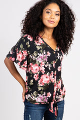 Black Floral Print Button Tie Front Maternity Top