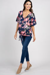 Navy Floral Print Button Tie Front Maternity Top