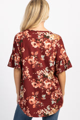 Burgundy Floral Print Button Tie Front Top