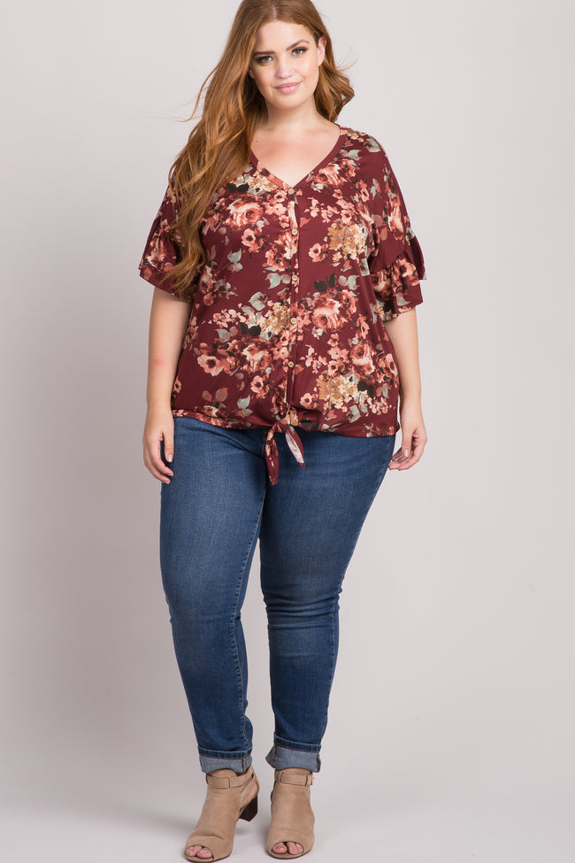 Burgundy Floral Print Button Tie Front Plus Top
