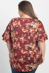Burgundy Floral Print Button Tie Front Plus Maternity Top