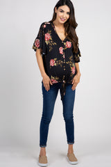 Black Peony Floral Button Tie Front Maternity Top