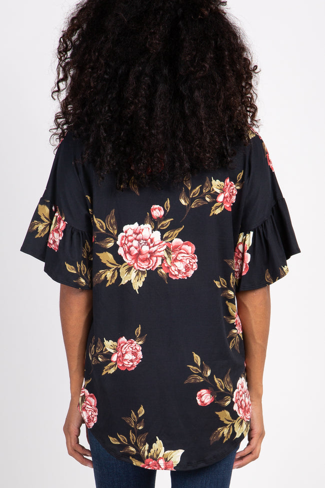 Black Peony Floral Button Tie Front Top
