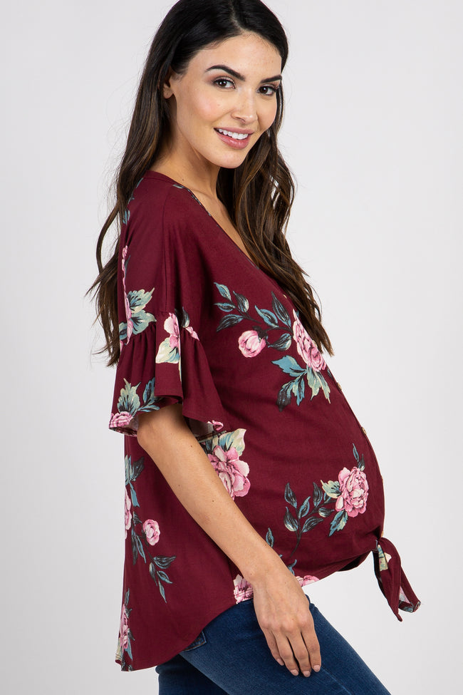 Burgundy Peony Floral Button Tie Front Maternity Top
