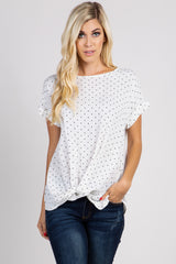 White Polka Dot Knot Tie Top
