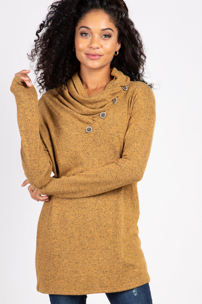Heather Mustard Soft Knit Button Collar Maternity Top