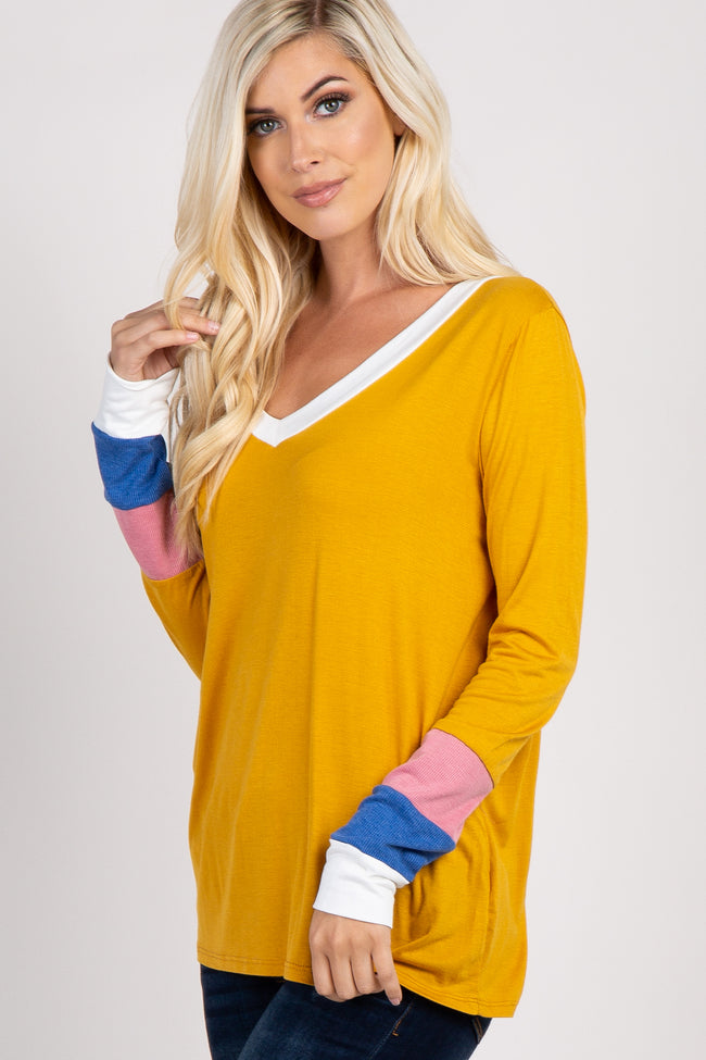 Yellow Long Sleeve Colorblock Top