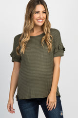 Olive Pinstriped Ruffle Maternity Top
