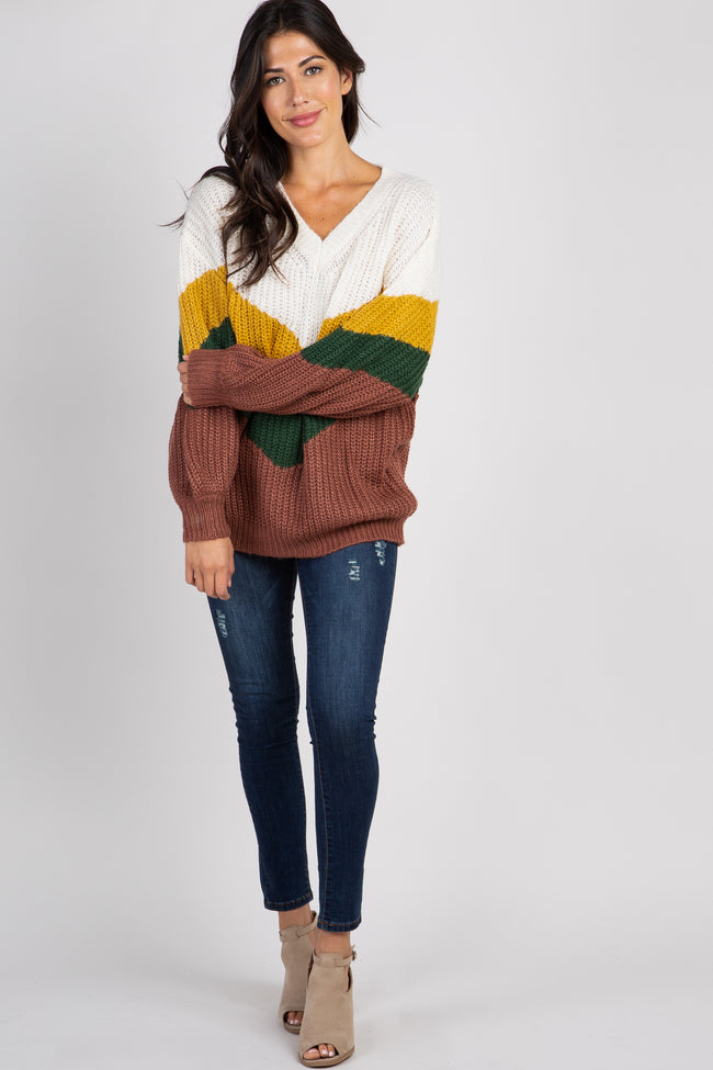 Ivory Chevron Colorblock Knit Sweater