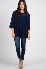 Navy Crochet Knit 3/4 Sleeve Sweater