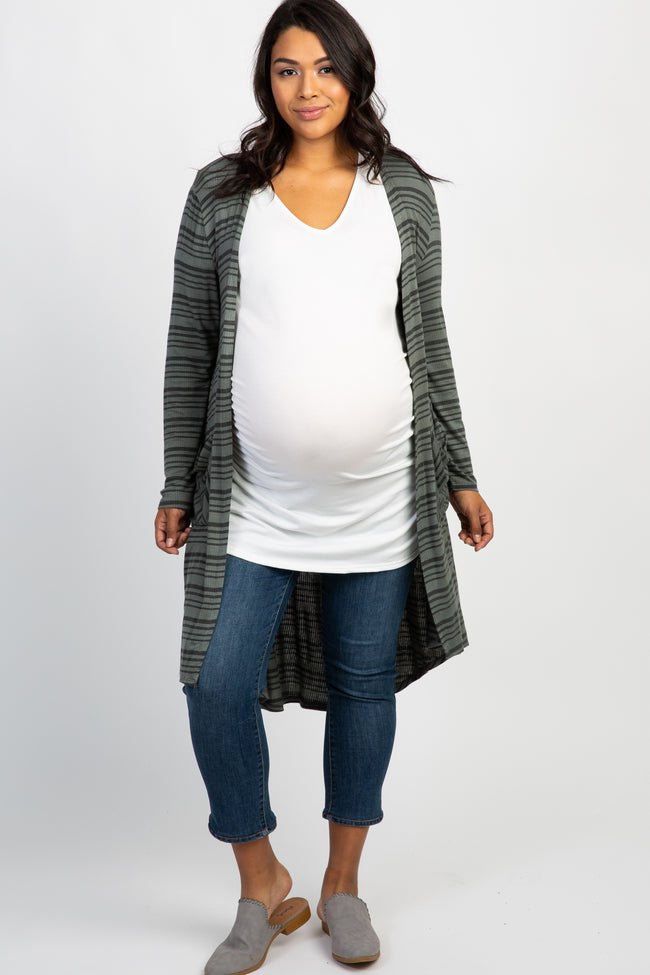 Olive Striped Ribbed Pocket Front Plus Maternity Cardigan