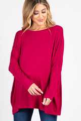 Magenta Tulip Open Back Dolman Sleeve Maternity Top