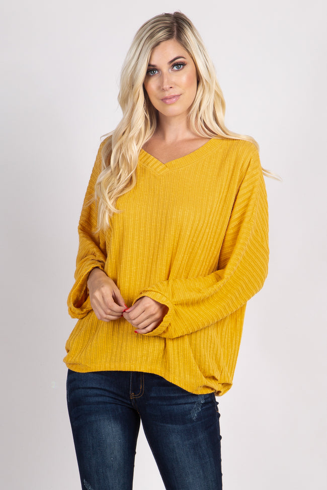 Yellow Ribbed Knit Dolman Sleeve Maternity Top