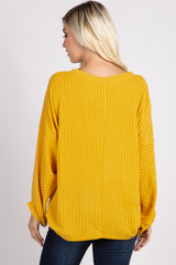 Yellow Ribbed Knit Dolman Sleeve Top