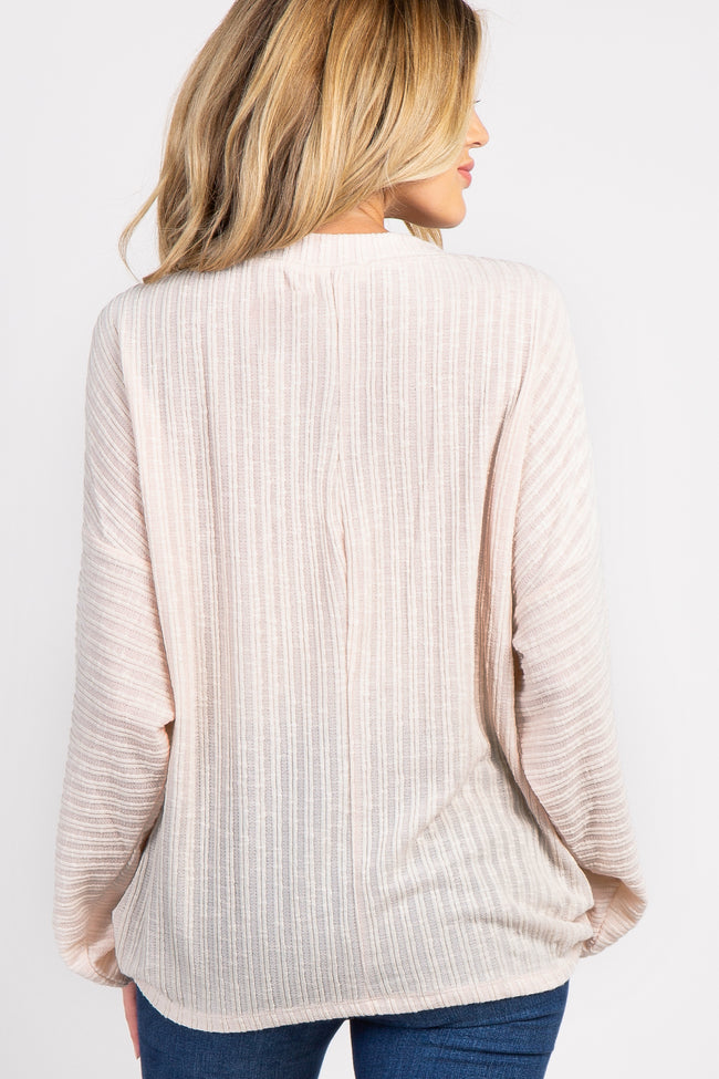 Beige Ribbed Knit Dolman Sleeve Maternity Top