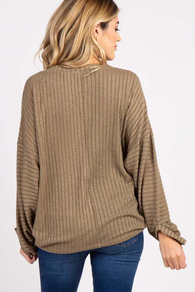 Olive Ribbed Knit Dolman Sleeve Maternity Top