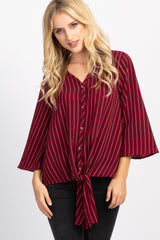 Burgundy Pinstriped Button Front Knot Bell Sleeve Maternity Top