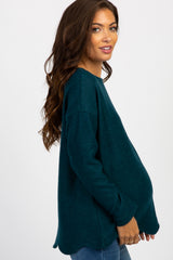 Forest Green Solid Scalloped Hem Maternity Top
