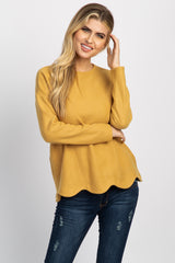 Mustard Solid Scalloped Hem Maternity Top