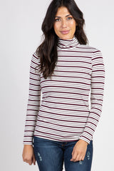 Burgundy Striped Turtle Neck Top