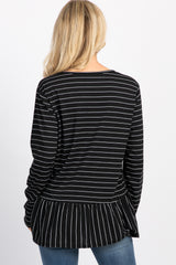 Black Striped Button Front Ruffle Top