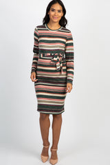 Mauve Striped Long Sleeve Waist Tie Maternity Dress