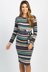 Navy Striped Long Sleeve Waist Tie Maternity Dress