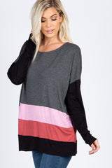 Charcoal Colorblock Long Sleeve Top