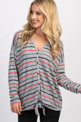 Heather Grey Striped Button Down Front Tie Top