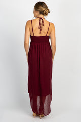 Burgundy Swiss Dot Cami Strap Hi-Low Maternity Dress