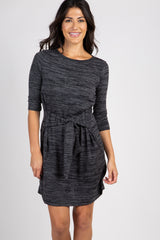 Charcoal Heathered 3/4 Sleeve Front Tie Knit Dress