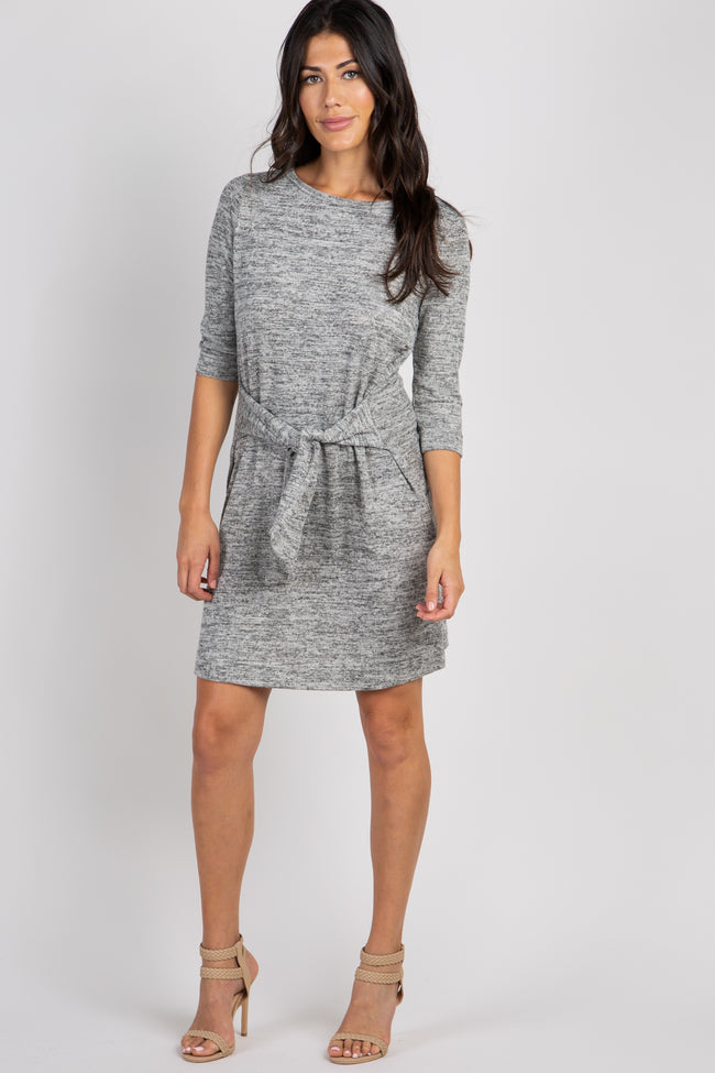 Heather Grey 3/4 Sleeve Front Tie Knit Dress