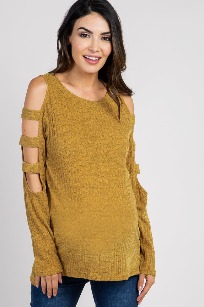 Yellow Ribbed Knit Cutout Shoulder Maternity Top