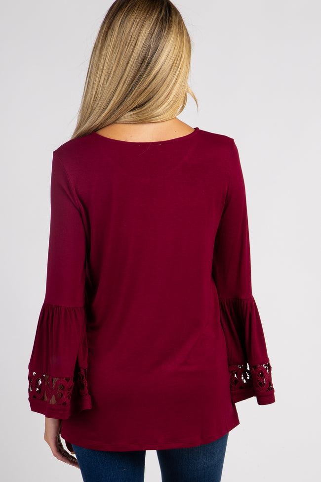 Burgundy Bell Sleeve Maternity Top