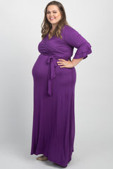Purple Solid Layered Sleeve Plus Maternity Maxi Wrap Dress