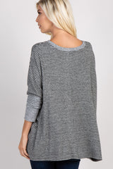 Grey Black Pinstriped Soft Knit Dolman Sleeve Top