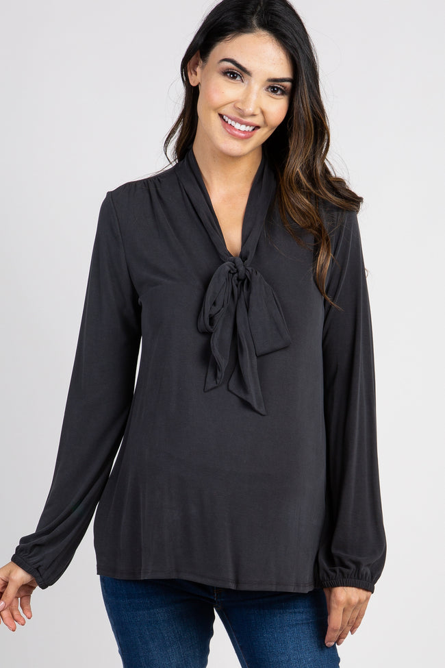 Faded Black Long Sleeved Neck Tie Maternity Top