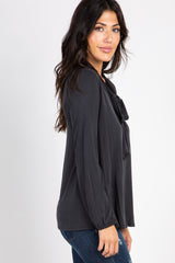 Faded Black Long Sleeved Neck Tie Top