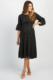 Black Polka Dot Ruffle Sleeve Maternity Midi Dress