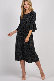 Black Polka Dot Ruffle Sleeve  Midi Dress