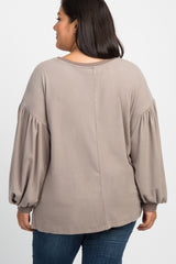 Taupe Soft Knit Puff Sleeve Plus Maternity Top