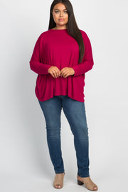 Magenta Tulip Open Back Dolman Sleeve Plus Top