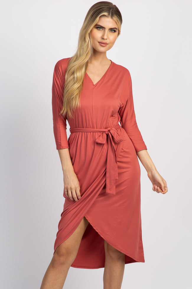 Rust 3/4 Sleeve Hi-Low Hem Wrap Midi Dress