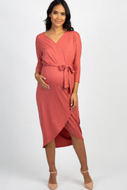 Rust 3/4 Sleeve Hi-Low Hem Wrap Maternity Midi Dress