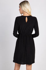 PinkBlush Black Glitter Long Sleeve Wrap Dress