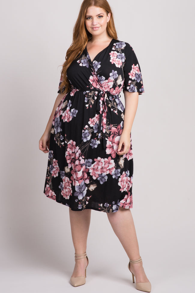 Black Floral Wrap Plus Midi Dress