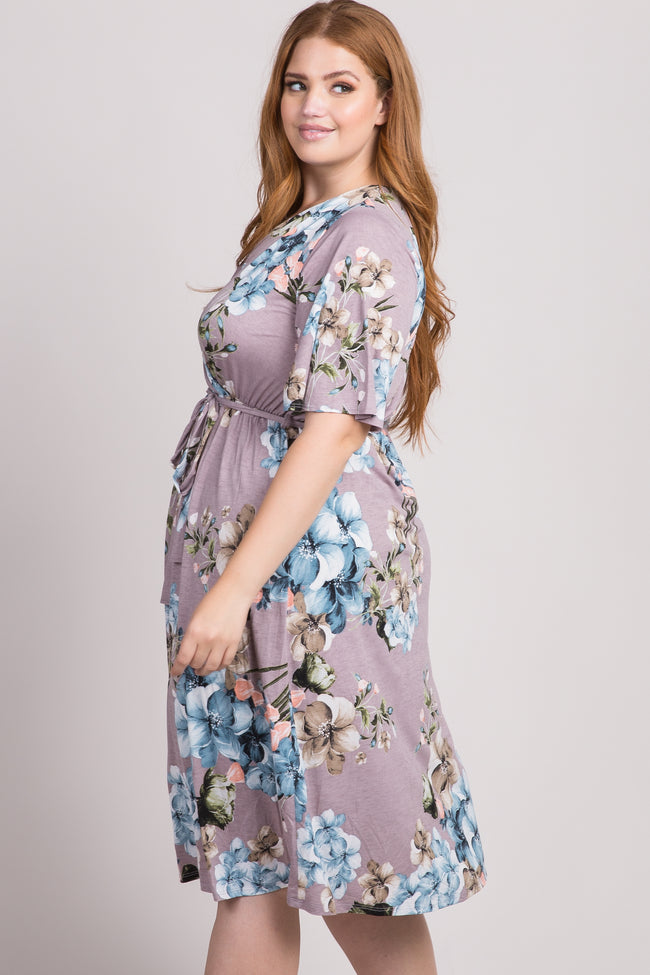Grey Floral Wrap Plus Dress